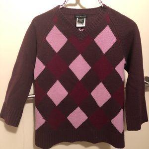 Club Monaco Purple Arygle Knit Wool Sweater